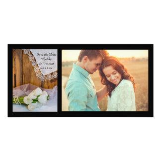 Reserva blanca rústica del boda del granero de los tarjeta