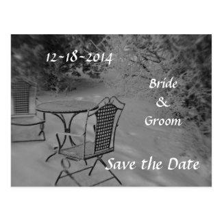 Reserva blanco y negro del boda del invierno la postal