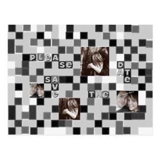 Reserva blanco y negro del mosaico la postal de la