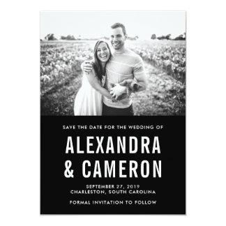 Reserva blanco y negro intrépida del boda el | la invitación 12,7 x 17,8 cm
