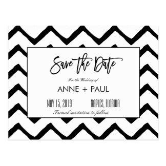 Reserva blanco y negro la fecha postal