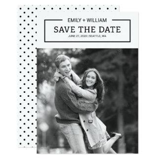 Reserva blanco y negro minimalista la foto de la invitación 12,7 x 17,8 cm