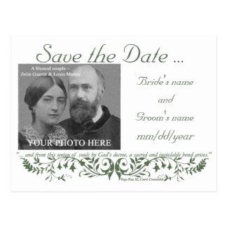 Reserva católica del sistema del boda la plantilla postal
