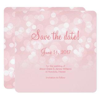 Reserva chispeante rosada elegante del bokeh la invitación 13,3 cm x 13,3cm