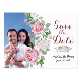 Reserva color de rosa rosada del boda de la foto postal