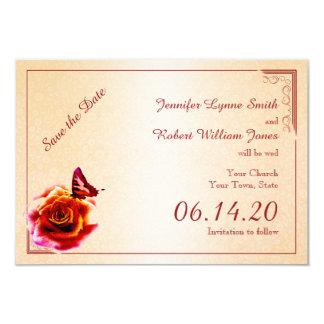 Reserva color de rosa y de la mariposa anaranjada invitación 8,9 x 12,7 cm