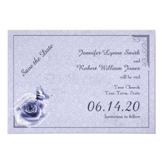 Reserva color de rosa y de la mariposa azul del invitación 8,9 x 12,7 cm