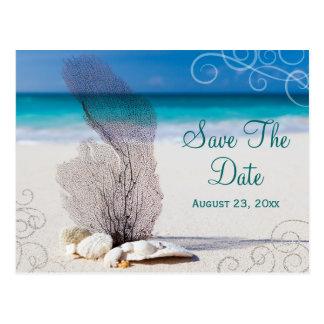 Reserva coralina de la playa la invitación de boda