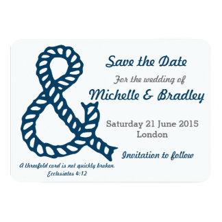Reserva cristiana náutica del boda la fecha invitación 12,7 x 17,8 cm