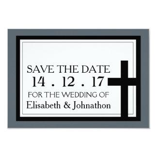 Reserva cruzada santa del boda la fecha invitación 8,9 x 12,7 cm