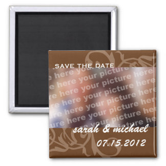Reserva de Brown la foto de la invitación del boda Imán Cuadrado