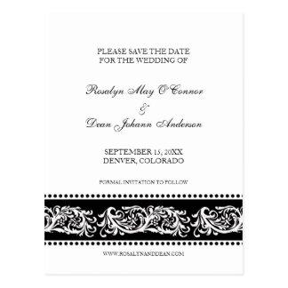 Reserva de encargo del boda de la voluta de B&W Postal