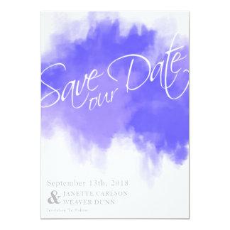 Reserva de la acuarela de la púrpura real la fecha invitación 12,7 x 17,8 cm