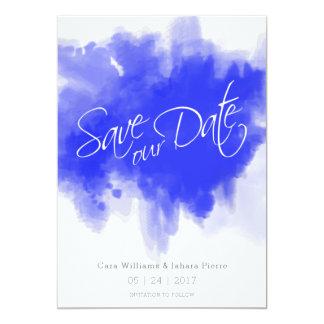Reserva de la acuarela del azul real la fecha invitación 12,7 x 17,8 cm