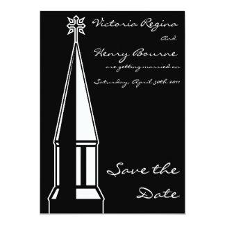 Reserva de la aguja de la iglesia el negro de la invitación 12,7 x 17,8 cm