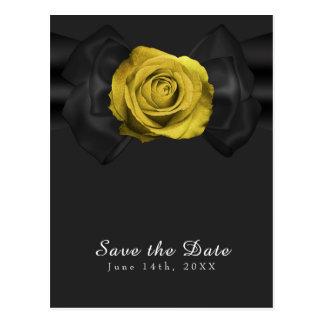 Reserva de la cinta negra y del rosa amarillo la postal