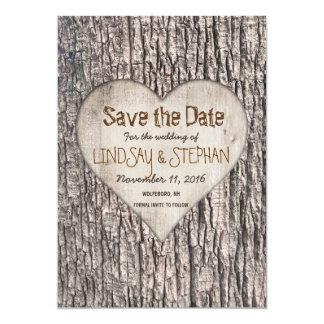 Reserva de la corteza de árbol la tarjeta de fecha invitación 12,7 x 17,8 cm