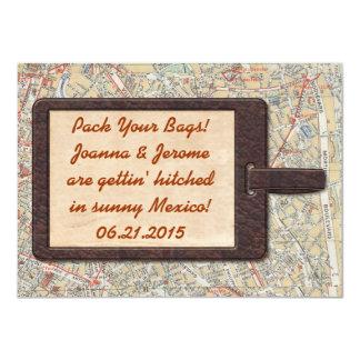 Reserva de la etiqueta del equipaje la fecha invitación 11,4 x 15,8 cm