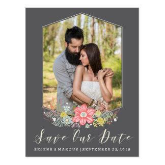Reserva de la foto del marco de la flor la tarjeta