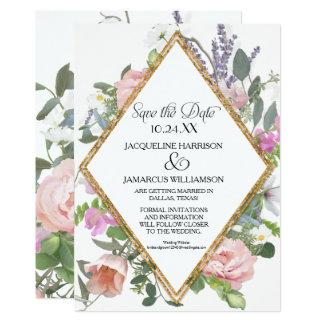 Reserva de la foto el floral romántico del brillo invitación 12,7 x 17,8 cm