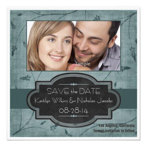 Reserva de la foto el verde de la fecha con la eti invitaciones personales