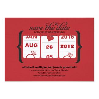 Reserva de la máquina tragaperras la fecha - boda invitación 12,7 x 17,8 cm