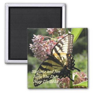 Reserva de la mariposa la fecha imán cuadrado