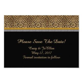 Reserva de la plata del oro del leopardo la fecha invitación 8,9 x 12,7 cm