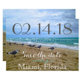 Reserva de la playa de la gaviota la fecha invitación 12,7 x 17,8 cm