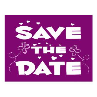 Reserva de la púrpura las mariposas de la fecha y postal