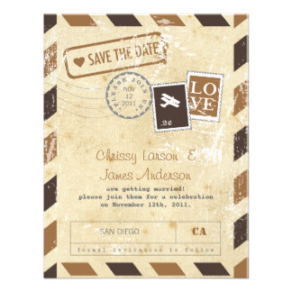 Reserva de la tarjeta del correo aéreo del vintage invitacion personalizada
