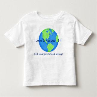 Reserva de la tierra del respecto del amor él para camiseta de niño