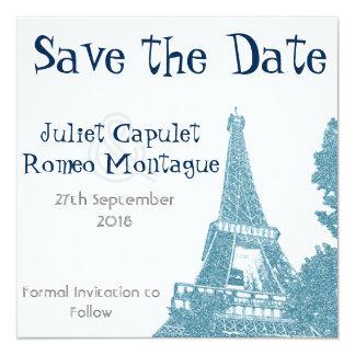 Reserva de la torre Eiffel la fecha Invitación 13,3 Cm X 13,3cm