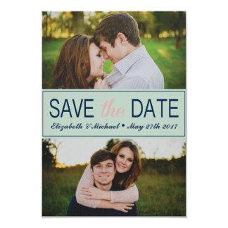 Reserva de la verde menta la fecha con las fotos invitación 8,9 x 12,7 cm