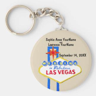 Reserva de Las Vegas la invitación de la fecha Llavero Redondo Tipo Chapa