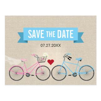 Reserva de lino del boda de la bicicleta del postal