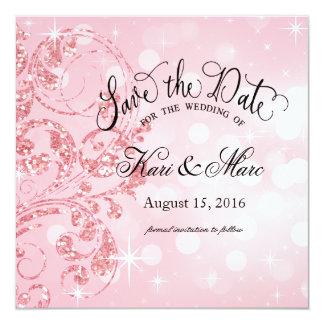 Reserva de lujo del brillo del encanto el rosa invitación 13,3 cm x 13,3cm