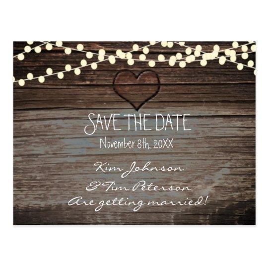 Reserva de madera de la postal del boda del
