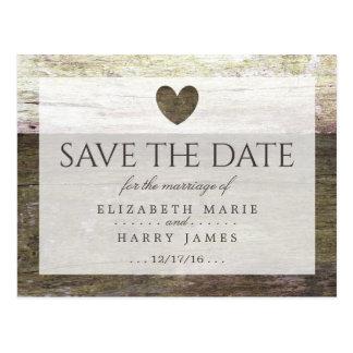 Reserva de madera del boda del corazón del país la postal