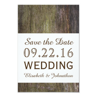 Reserva de madera del boda del invierno la fecha invitación 8,9 x 12,7 cm