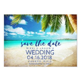 Reserva de Puerto Rico del boda de playa la fecha Invitación 12,7 X 17,8 Cm