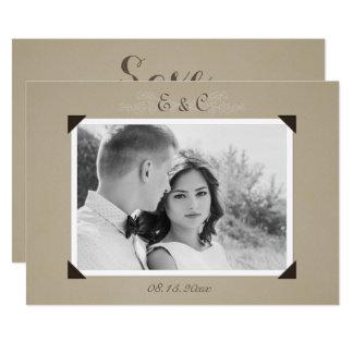 Reserva del álbum de foto del vintage la fecha invitación 12,7 x 17,8 cm
