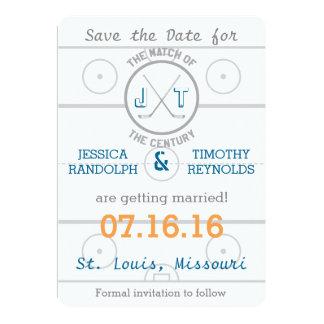 Reserva del amor del hockey la fecha invitación 12,7 x 17,8 cm