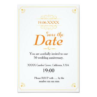 Reserva del aniversario de boda de oro la fecha invitación 8,9 x 12,7 cm