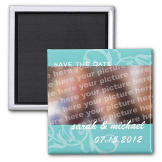 Reserva del azul la foto de la invitación del boda imán