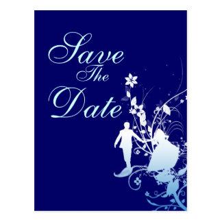 Reserva del azul la invitación del boda de la postal