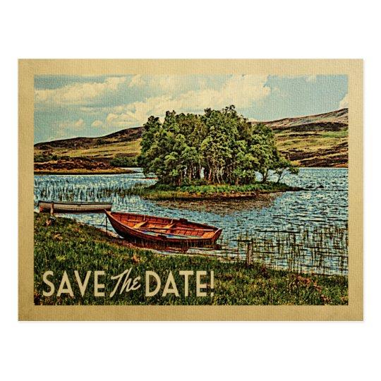 Reserva del barco del lago vintage la naturaleza postal
