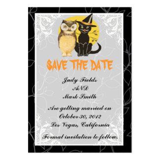 Reserva del boda de Halloween del gato y del búho  Plantillas De Tarjetas De Visita