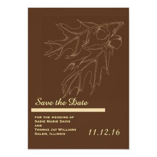 Reserva del boda de la bellota de la caída la invitación 12,7 x 17,8 cm
