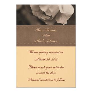 Reserva del boda de la flor del capullo de rosa de invitación 12,7 x 17,8 cm